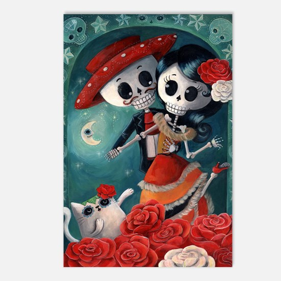 Dia de Los Muertos Mexican Lovers Postcards (Packa