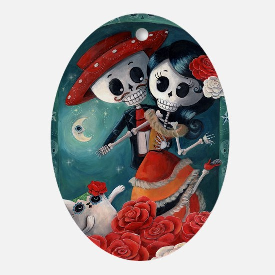 Dia de Los Muertos Mexican Lovers Ornament (Oval)