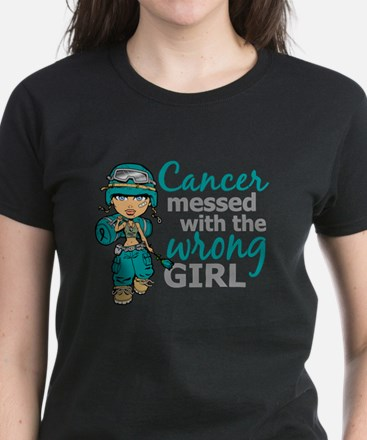 Combat Girl Ovarian Cancer Women's Dark T-Shirt