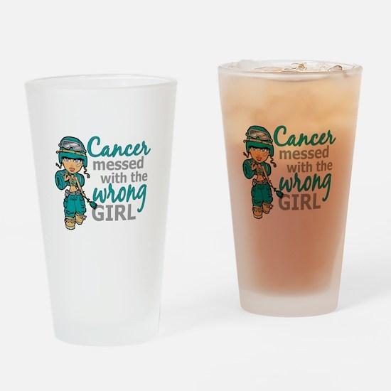 Combat Girl Ovarian Cancer Drinking Glass
