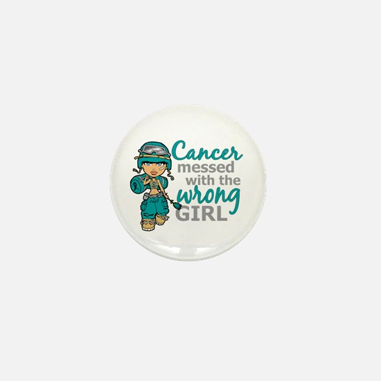 Combat Girl Ovarian Cancer Mini Button