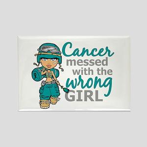 Combat Girl Ovarian Cancer Rectangle Magnet