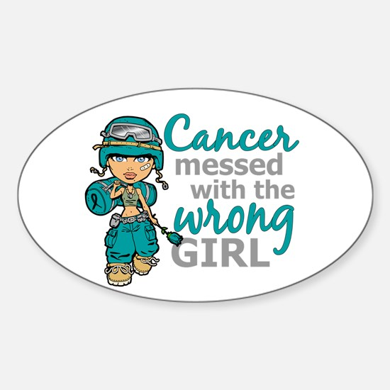 Combat Girl Ovarian Cancer Sticker (Oval)