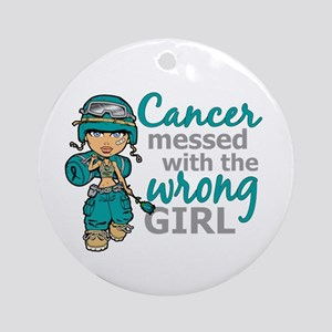 Combat Girl Ovarian Cancer Ornament (Round)