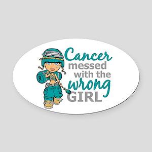Combat Girl Ovarian Cancer Oval Car Magnet
