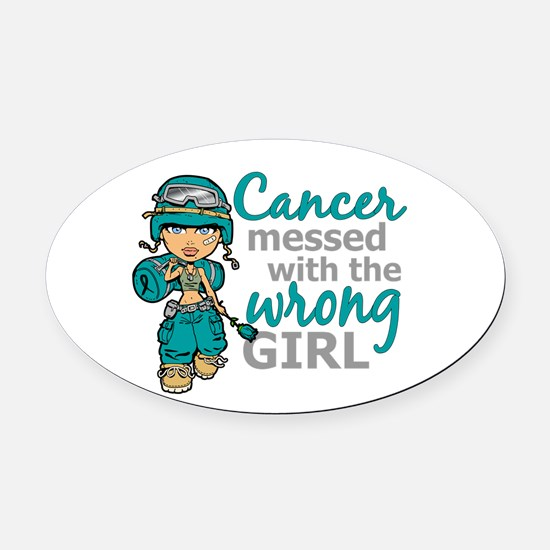 Combat Girl Ovarian Cancer Oval Car Magnet