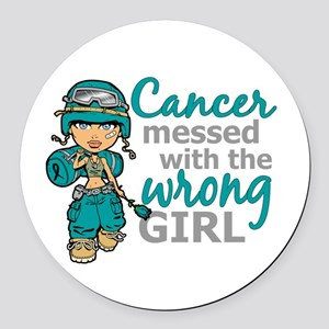 Combat Girl Ovarian Cancer Round Car Magnet