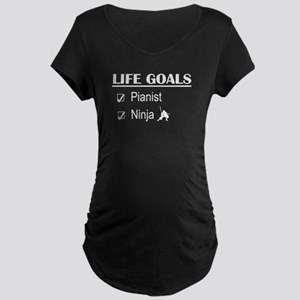 Pianist Ninja Life Goals Maternity Dark T-Shirt