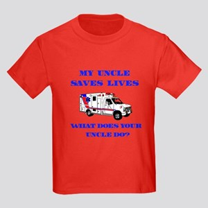 Ambulance Saves Lives-Uncle Kids Dark T-Shirt