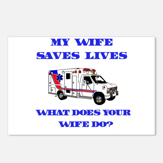 Ambulance Saves Lives-Wife Postcards (Package of 8