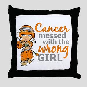 Combat Girl Leukemia Throw Pillow