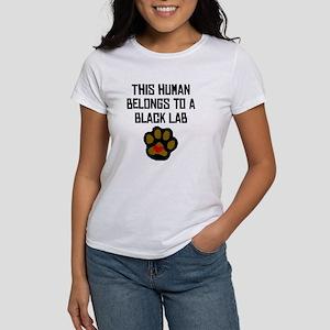 This Human Belongs To A Black Lab T-Shirt