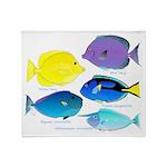 5 Unicornfish Surgeonfish Throw Blanket