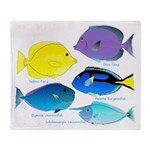 5 Unicornfish Surgeonfish Throw Blanket