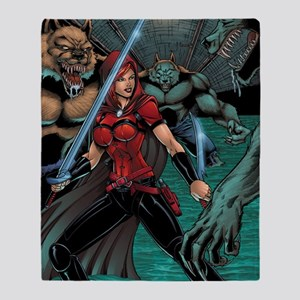 Scarlet Huntress vs Werewolves Throw Blanket