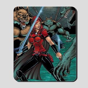 Scarlet Huntress vs Werewolves Mousepad