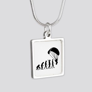 Evolution Skydiving Silver Square Necklace