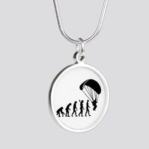 Evolution Skydiving Silver Round Necklace
