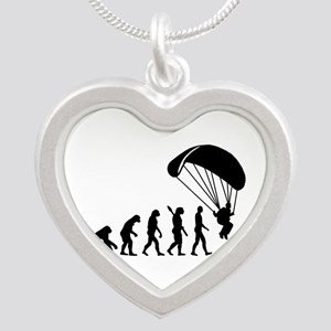 Evolution Skydiving Silver Heart Necklace