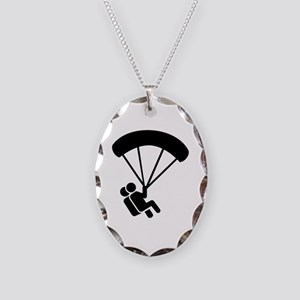 Skydiving tandem Necklace Oval Charm