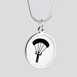 Skydiving icon Silver Round Necklace