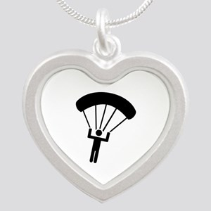 Skydiving icon Silver Heart Necklace