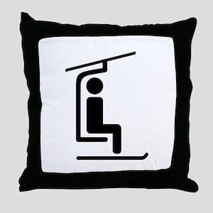 Ski Chairlift Throw Pillow
