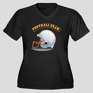 Football Tea Women's Plus Size V-Neck Dark T-Shirt