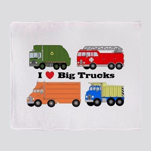 I Heart Big Trucks Throw Blanket