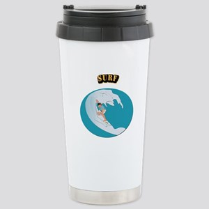 Surf With Text Stainless Steel Travel Mug