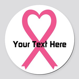 Personalized Pink Ribbon Heart Round Car Magnet