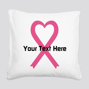 Personalized Pink Ribbon Hear Square Canvas Pillow