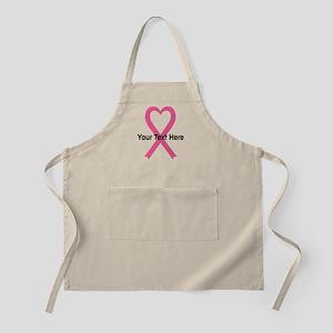 Personalized Pink Ribbon Heart Apron