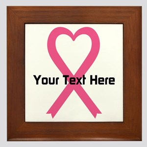Personalized Pink Ribbon Heart Framed Tile