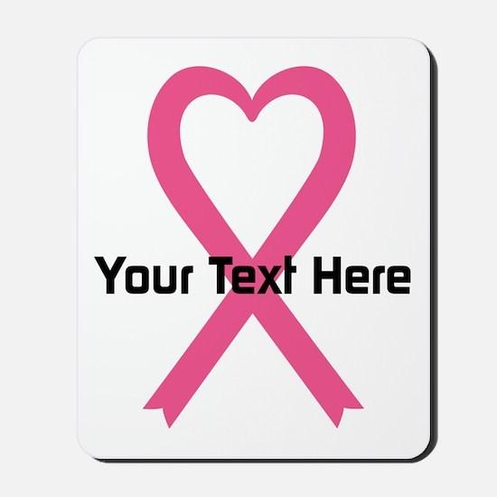 Personalized Pink Ribbon Heart Mousepad