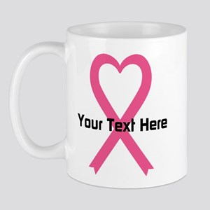 Personalized Pink Ribbon Heart Mug
