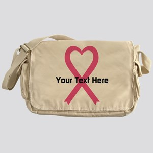 Personalized Pink Ribbon Heart Messenger Bag