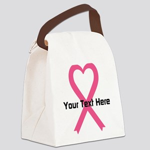 Personalized Pink Ribbon Heart Canvas Lunch Bag