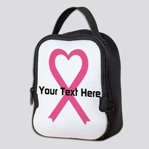 Personalized Pink Ribbon Heart Neoprene Lunch Bag