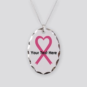 Personalized Pink Ribbon Heart Necklace Oval Charm