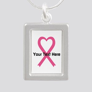 Personalized Pink Ribbon Silver Portrait Necklace