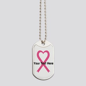 Personalized Pink Ribbon Heart Dog Tags