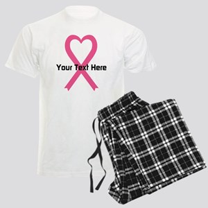 Personalized Pink Ribbon Hear Men's Light Pajamas