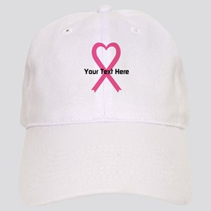 Personalized Pink Ribbon Heart Cap