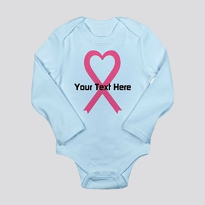 Personalized Pink Ribb Long Sleeve Infant Bodysuit