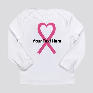 Personalized Pink Ribbo Long Sleeve Infant T-Shirt