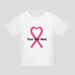 Personalized Pink Ribbon Heart Toddler T-Shirt