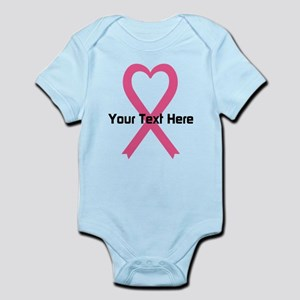 Personalized Pink Ribbon Heart Infant Bodysuit