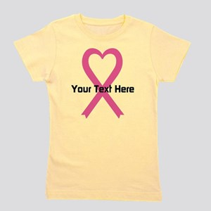 Personalized Pink Ribbon Heart Girl's Tee