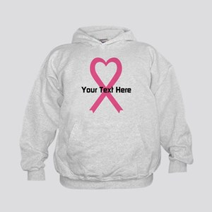 Personalized Pink Ribbon Heart Kids Hoodie